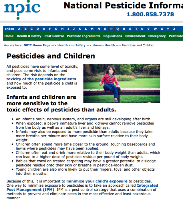 NPIC Pesticides and Children